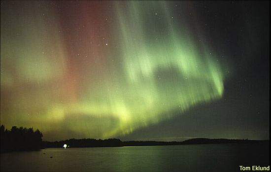 Green and red aurora