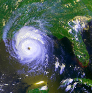 Satellite view of Hurricane Andrew