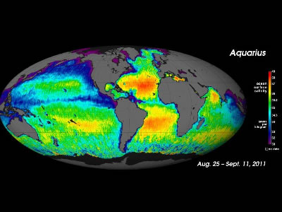 "This first global map of <a href=""http://www.windows2universe.org/earth/Water/ocean.html"">ocean</a> surface saltiness, released in September 2012 by the NASA Aquarius mission team, shows the distribution of salt in the first 2 cm of the Earth's ocean. <a href=""http://www.windows2universe.org/earth/Water/salinity.html"">Salinity</a> variations are one of the main drivers of <a href=""http://www.windows2universe.org/earth/Water/circulation1.html"">ocean circulation</a>, and are closely connected with the <a href=""http://www.windows2universe.org/earth/Water/water_cycle.html"">cycling of freshwater</a> around the planet. High salinity is seen in the Mediterranean, Atlantic, and the Arabian Sea.<p><small><em>Image courtesy of NASA/GSFC/JPL-Caltech</em></small></p>"