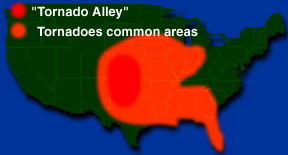 Tornado Alley Windows To The Universe - Map of tornado frequency in us