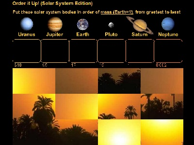 "Does any planet have a stronger magnetic field than Mars? Which planets have a greater mass than Jupiter? Which are denser? Which are larger? Find out while playing the Solar System Edition of <a href=""/games/order_planets_intro.html&edu=high"">Order It Up</a>!  Measures of size and scale help us understand the magnitude of objects. Play with scales while trying to arrange planets by magnitude of mass, size, temperature, density, distance, gravity or magnetic field. Correctly order the planets and you unscramble a mystery picture!<p><small><em></em></small></p>"
