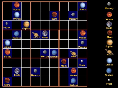 "Play our <a href=""/games/sudoku/sudoku.html&edu=high"">Eight Planets and a Dwarf Sudoku</a>!  The regular rules of Sudoku apply - each planet can only appear once in each column or row, and only once in each 3x3 box.  Learn more about the planets, too!  You can vary the game from very easy to challenging.<p><small><em></em></small></p>"