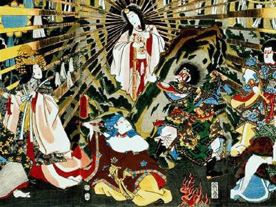 "<a href=""/mythology/amaterasu_sun.html&edu=elem"">Amaterasu</a> is the Shinto sun goddess.  Amaterasu was born from the left eye of the primeval being Izanagi. When her brother Susanowo treated her badly, she hid in the cave of heaven, closing the entrance with an enormous stone.This image shows her coming out of the cave, with the stone moved aside.<p><small><em>Public domain image/Wikipedia Commons</em></small></p>"