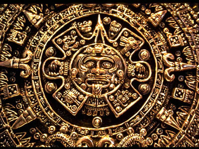 "For the Aztecs, who lived in central Mexico, <a href=""/mythology/tonatiuh.html"">Tonatiuh</a> was a <a href=""/sun/sun.html"">Sun</a> god. Aztecs believed that four suns had been created in four previous ages, and all of them had died at the end of each cosmic era. Tonatiuh was the fifth sun and the present era is still his. The carvings on this sunstone represent the four cycles of creation and destruction in the Aztec creation story. The skull at the center depicts the god Tonatiuh.<p><small><em>   Image courtesy of Corel Corporation.</em></small></p>"