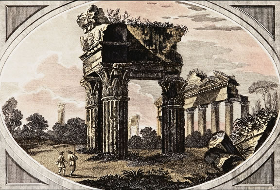 """Temple of Jupiter"" by Giovanni Battista Cipriani.    In Roman mythology, Jupiter (Zeus in Greek mythology) was the king of heaven and Earth and of all the Olympian gods. He was also known as the god of justice.<p><small><em>   Image courtesy of Corel Corporation.</em></small></p>"