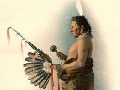 This is a Pawnee Indian shown in ceremonial dress. The Pawnee people were one of the largest and most powerful of the Native American groups.  They, like many indigenous groups, had a sophisticated knowledge of astronomy.  They also had many stories (myths) that connected their people to the natural world.<p><small><em> Image is now in public domain.  It was originally published by Powell, J. W. <i>Twenty-Second Annual Report of the Bureau of American Ethnology - Part 2.</i> Washington: Government Printing Office, 1904.</em></small></p>