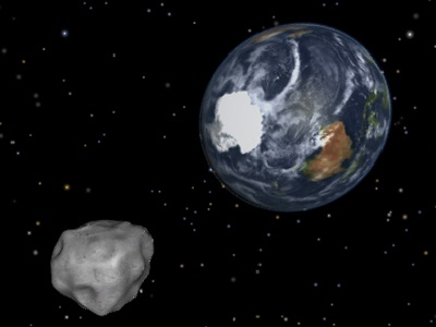 "A near-Earth <a href=""/our_solar_system/asteroids.html&edu=elem"">asteroid</a> - named 2012 DA14 by astronomers - passed within 17,200 miles from Earth on February 15, 2013. On closest approach at about 1:25 p.m. CST on February 15, although it was within the orbit of the <a href=""/earth/moons_and_rings.html&edu=elem"">Moon</a> and even geosynchronous <a href=""/space_missions/satellites.html&edu=elem"">satellites</a>, it didn't strike Earth!  Find out more from <a href=""http://www.nasa.gov/mission_pages/asteroids/news/asteroid20130201315144.html"">NASA</a>! Fragments of a meteorite hit Chelyabinsk, Russia on 2/15/2013 <a href=""http://www.reuters.com/article/2013/02/15/us-russia-meteorite-idUSBRE91E05Z20130215"">injuring over 500</a>. Learn about <a href=""http://www.windows2universe.org/our_solar_system/meteors/meteors.html"">meteors and meteorites</a>.<p><small><em>NASA/JPL-CalTech</em></small></p>"