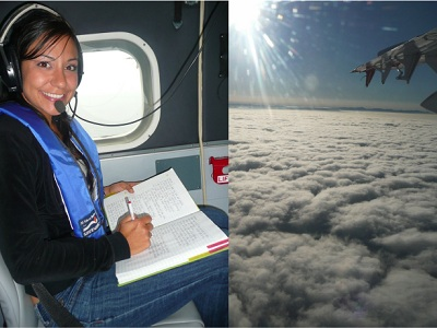 "<a href=""/people/postcards/vocals/dione_rossiter.html&edu=elem"">Dione Rossiter</a> is a scientist that participated in a research expedition to understand the climate of the southeastern Pacific in fall, 2008 - the <a href=""/vocals/vocals_intro.html&edu=elem"">VOCALS campaign</a>.  She got to fly a her scientific instrument aboard a research aircraft above a layer of <a href=""/earth/Atmosphere/clouds/stratocumulus.html&edu=elem"">stratocumulus</a> cloud that seemed to go on forever.<p><small><em>Image courtesy of Dione Rossiter</em></small></p>"