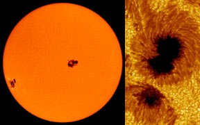 Sunspots - on the solar disk and a closeup