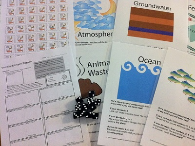 "Our <a href=""/teacher_resources/nitrogen_main.html&edu=elem"">Traveling Nitrogen Game</a> makes a fun activity for students to learn about the <a href=""/earth/Life/nitrogen_cycle.html&edu=elem"">nitrogen cycle</a>.  The activity includes a student worksheet (""Traveling Nitrogen Passport""), 11 reservoir signs, and stamps.  The activity is available in our <a href=""/php/teacher_resources/activity.php#8"">Classroom Activities section</a>, including a free html version, and a pdf version free for  <a href=""/new_membership_services.html&edu=elem"">Windows to the Universe subscribers</a>.  The Traveling Nitrogen Game Kit is available in our <a href=""/store/home.php"">online store</a>, including laminated signs and a set of 11 dice.<p><small><em></em></small></p>"